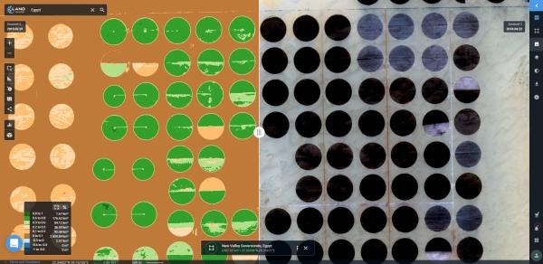 Análise SAVI derivada do Sentinel 2 de uma região agrícola árida no Egito no lado esquerdo LandViewer apresenta novas funções para explorar imagens de satélites