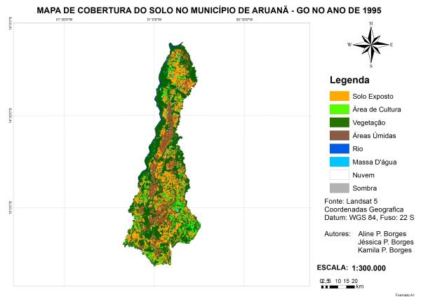 Figura 11 – Percentual de cobertura da terra no município de Aruanã no ano de 1995 Artigo: Análise Temporal das Áreas Úmidas no Município de Aruanã