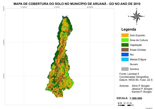 Figura 15 – Percentual de cobertura da terra no município de Aruanã no ano de 2010 Artigo: Análise Temporal das Áreas Úmidas no Município de Aruanã