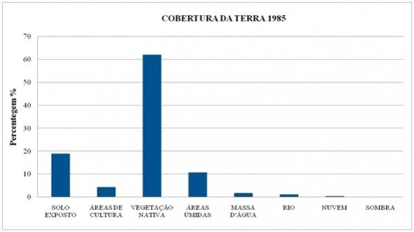 Figura 6 – Percentual de cobertura da terra no município de Aruanã no ano de 1985 600x337 Artigo: Análise Temporal das Áreas Úmidas no Município de Aruanã