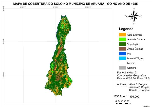 Figura 7 – Mapa de cobertura da terra no município de Aruanã no ano de 1985 Artigo: Análise Temporal das Áreas Úmidas no Município de Aruanã