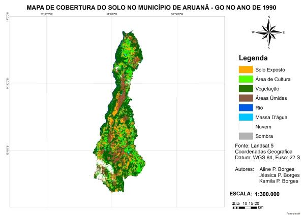 Figura 9 – Mapa de cobertura da terra no município de Aruanã no ano de 1990 Artigo: Análise Temporal das Áreas Úmidas no Município de Aruanã