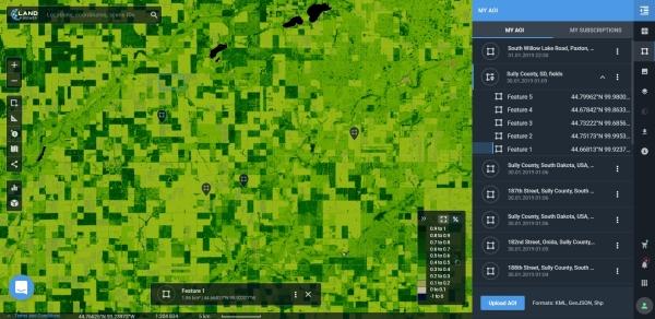 Múltiplas Área de Interesse AOI LandViewer apresenta novas funções para explorar imagens de satélites