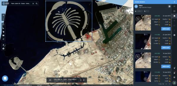Prévia de imagem coletada pelo Gaofen 2 acima do Palm Jebel Ali LandViewer presenta nuevas funciones