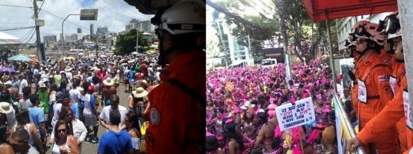 bombeiros em posto elevado 600x224 UFBA apoia Bombeiros no Plano de Emergência do Carnaval de Salvador